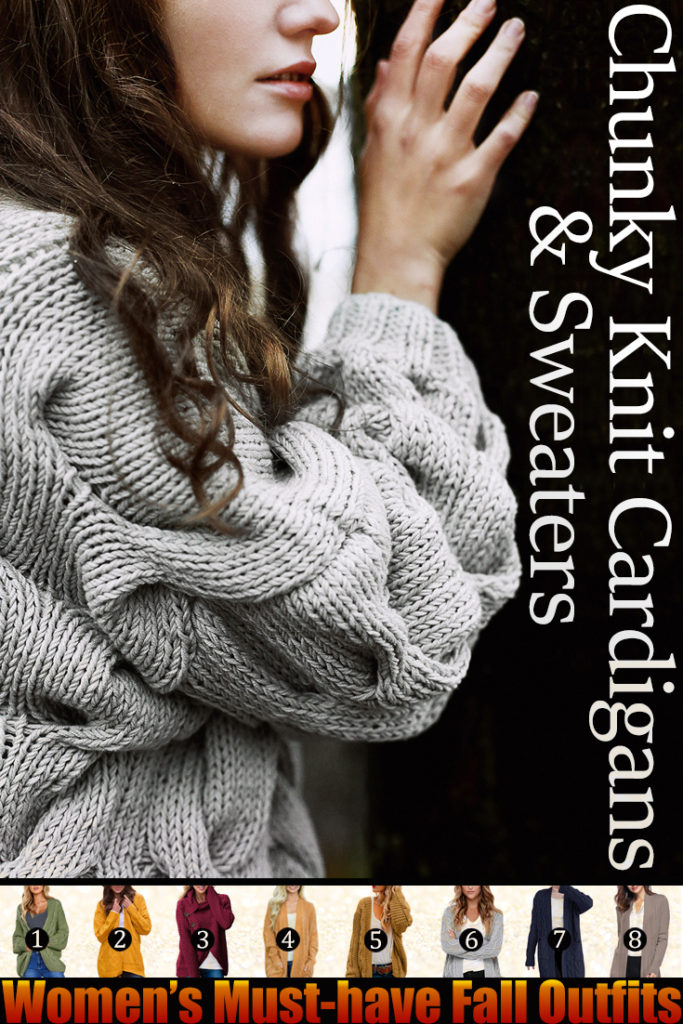 Chunky Knit Cardigans & Sweaters Women's Must-have Fall Outfits, Autumn Street Style ClickShipNow